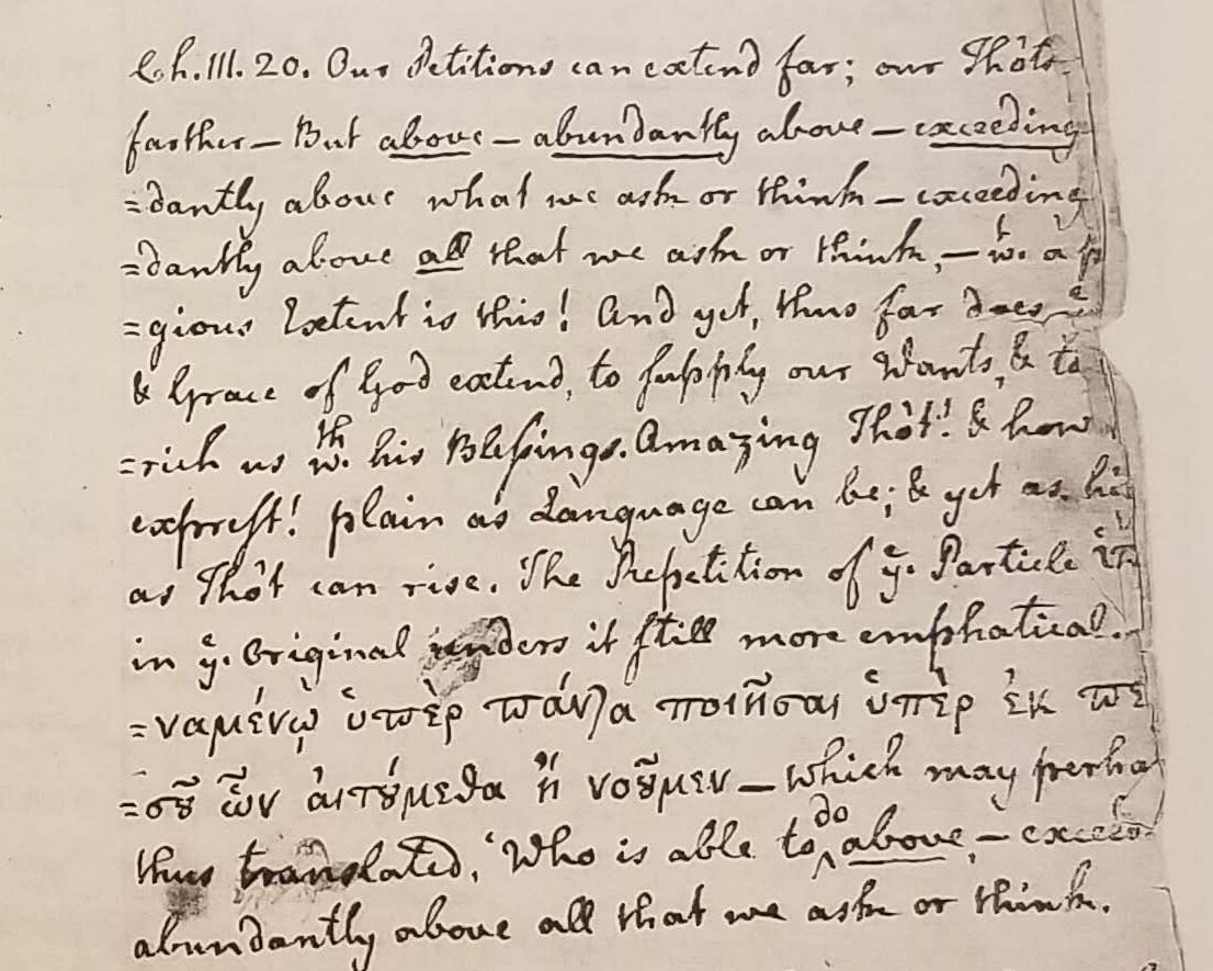 Photocopy of Samuel Davies' handwritten annotations from his personal Bible on Ephesians 3:20 (courtesy of the Virginia Museum of History & Culture, photo credit: R. Andrew Myers).