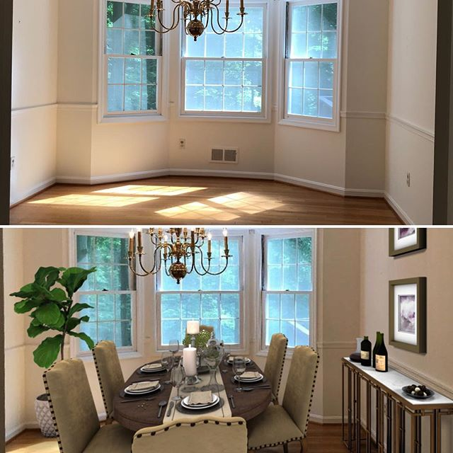 Before & After family dining room - picture the memories you'll make via Virtual Home Staging. Contact us at www.FineLinesFurnishings.com. . . . . . #realestate #realtor #realtors #realtorlife #realestateagent #realestateinvestor #realestatebroker #realestatebrokers #realestatesales #realestatephotography #property #propertymanagement #vivatysonsmagazine #vivatysons @vivatysonsmag @the_jane_fairweather_team #realestateagents @lcrealestateva