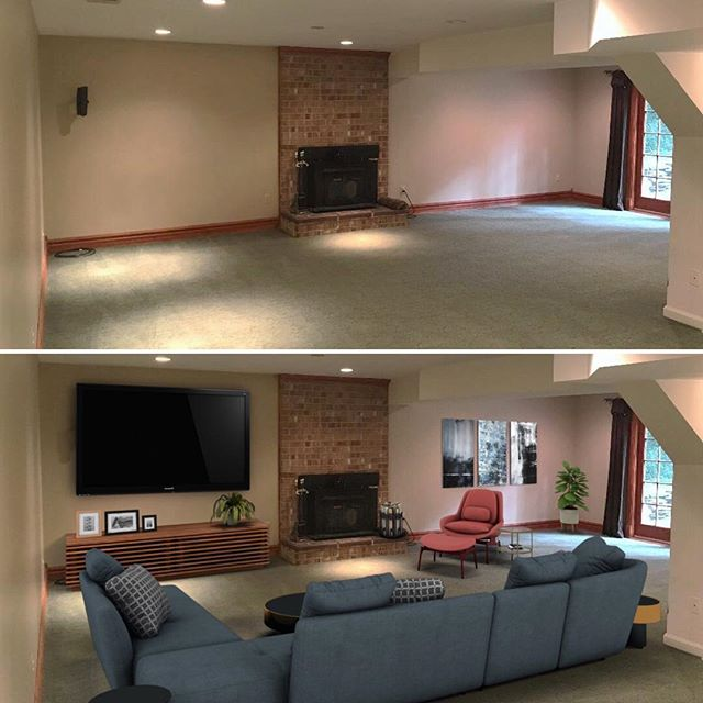 Before & After Basement Rec Room - Another great place to hang out that you can now visualize with Virtual Home Staging. Contact us at www.FineLinesFurnishings.com. . . . . . #realestate #realtor #realtors #realtorlife #realestateagent #realestateinvestor #realestatebroker #realestatebrokers #realestatesales #realestatephotography #property #propertymanagement #vivatysonsmagazine #vivatysons @vivatysonsmag @the_jane_fairweather_team #realestateagents @lcrealestateva