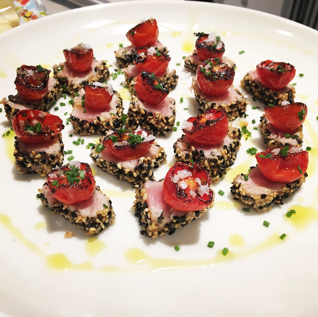 Time to get a little bolder - sesame-crusted seared tuna belly with (purposely) burnt tomatoes, balsamic cream, oregano oil, and Maldon salt.  This was kind of a play on Sicilian-style tuna.