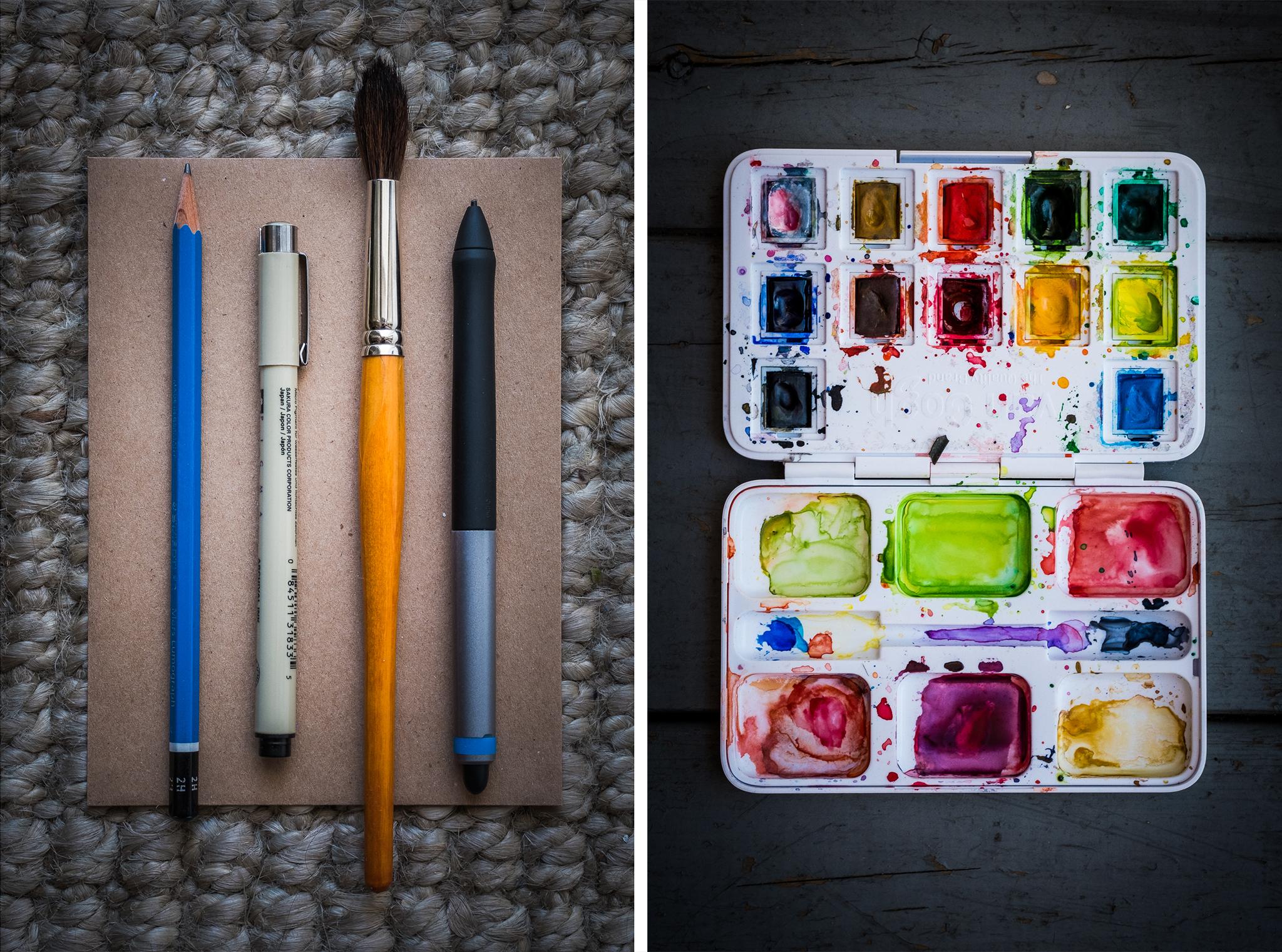 watercolor-tools-artist-pens