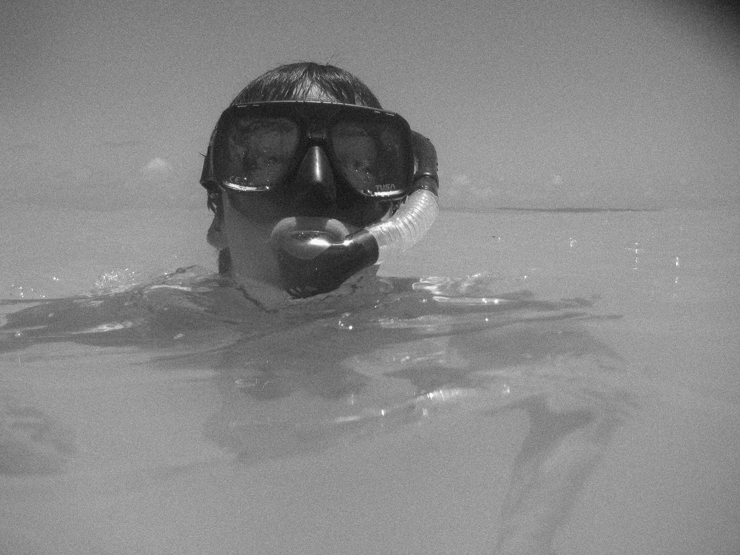 snorkelling-black-and-white-photo-in-barbados
