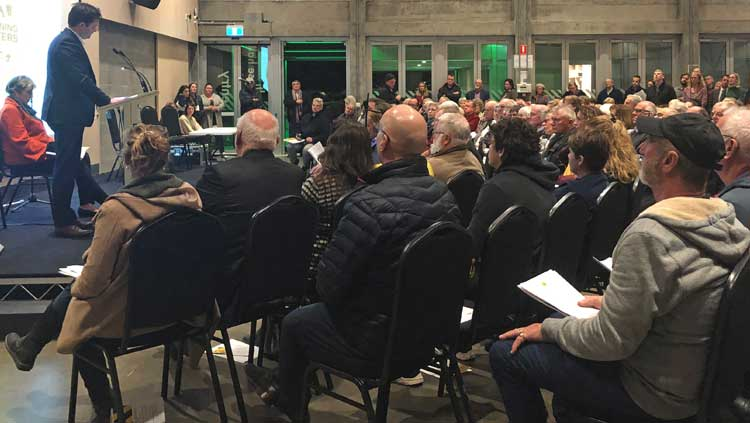 A packed crowd attended the public meeting to discuss the fast-tracked rezoning process for Huntingfield Park.