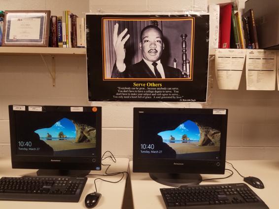 Work station at Fern Creek High School's Computer Science Academy