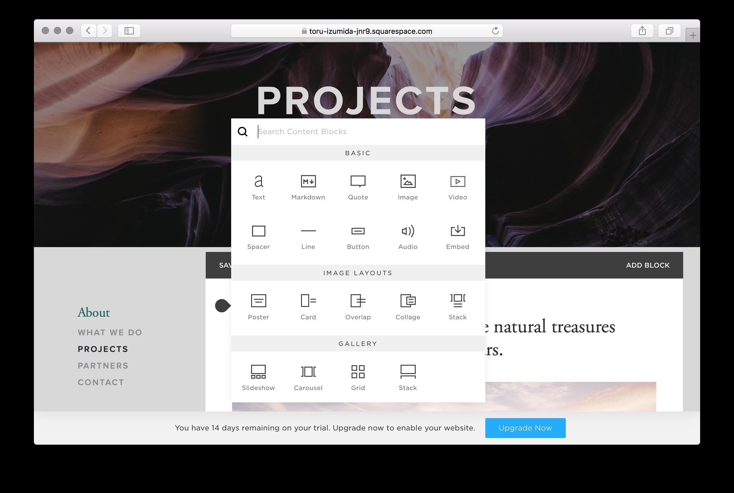 例: Projectsのページをクリックした際の編集画面