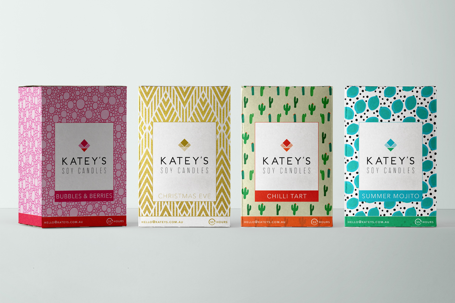 Katey's Soy Candles logo design and packaging