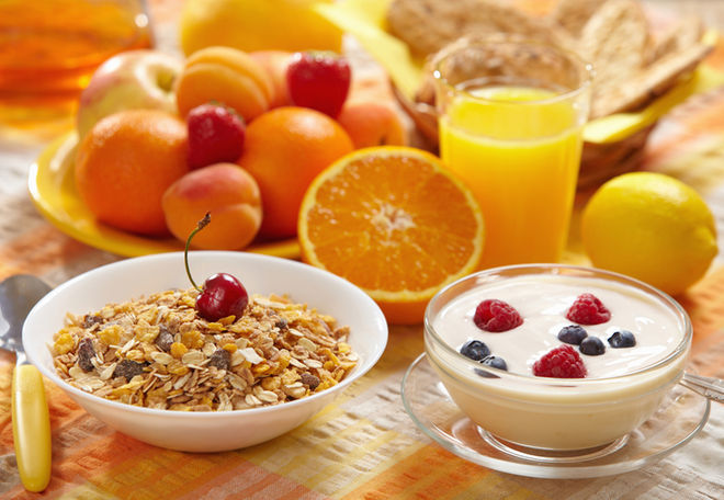 Healthy Breakfast. - A healthy start to a happy day. Fruits, shakes, granola, chai, etc.