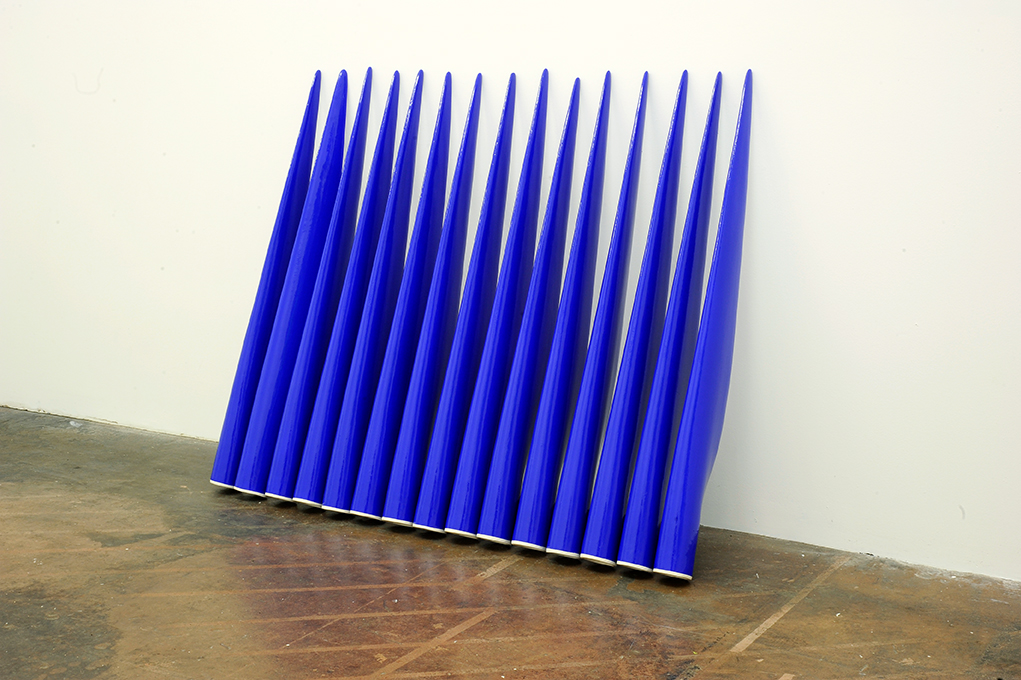 Slip-cast earthenware sculptures and acrylic paint, 110 x 6cm each