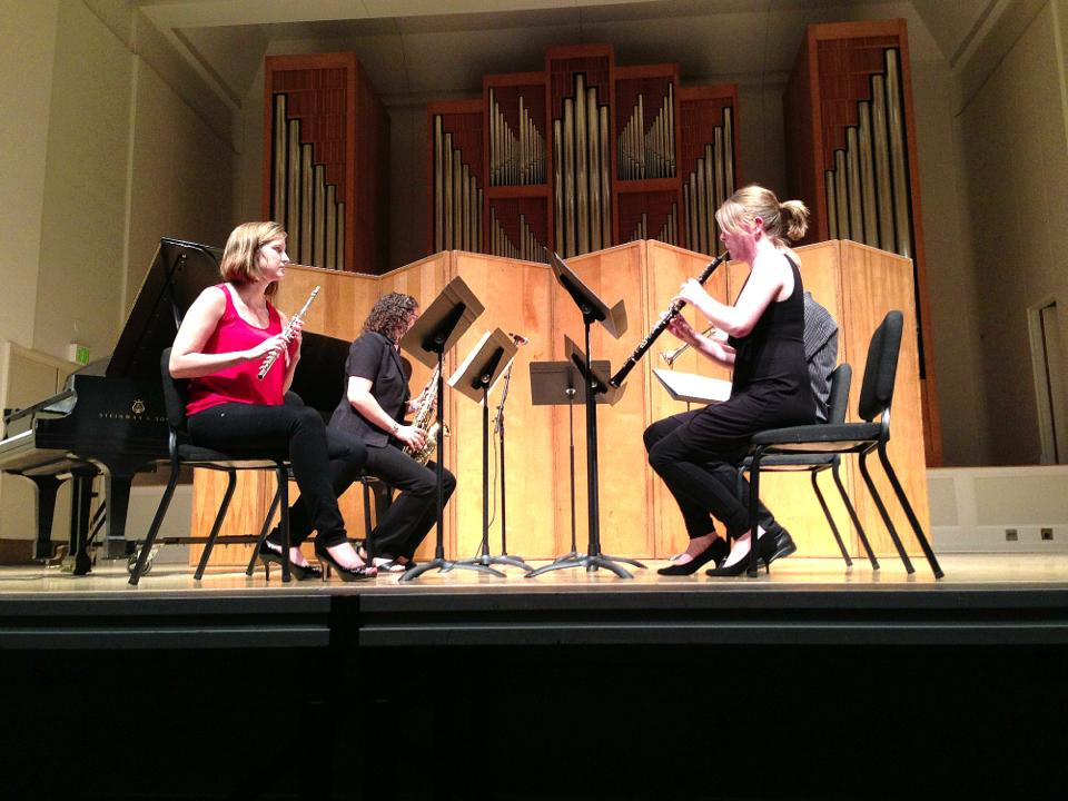 "Playing in a performance of ""Miniature March"" at the Oregon Bach Festival Composers Symposium (Beall Hall, University of Oregon)."