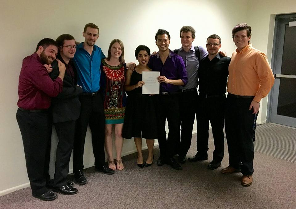 "With soprano Ally Smither, conductor Jebat Kee, and Shepherd School of Music musicians after the premiere of ""Poetic Study"" at Rice University"
