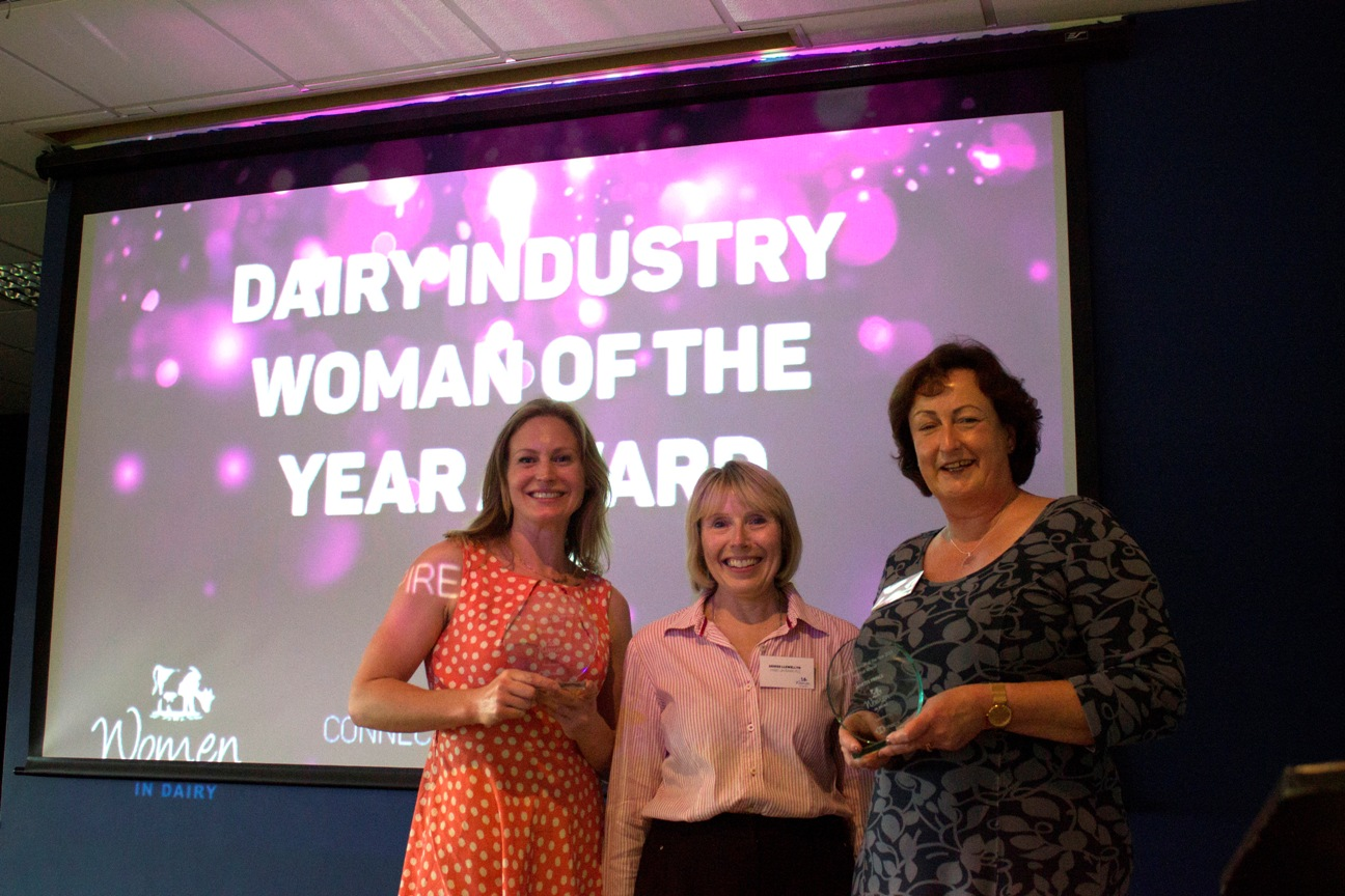 Regional winner Ceri Cryer (l) and national winner Jan Prince (r) receiving the Dairy Woman of the Year Awards from principal sponsor HSBC's Denise LlewellynWEB.jpg