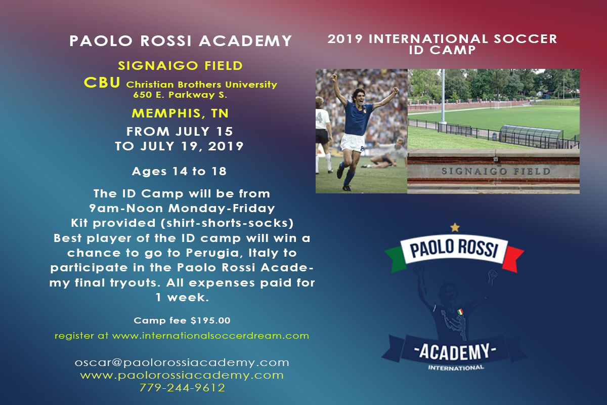 Paolo Rossi Academy - The Paolo Rossi Academy is hosting an ID camp at Christian Brothers University this summer! Players will have the opportunity to train with elite coaches, and the best player will win the chance to go to Perugia, Italy to participate in final Academy tryouts. For more information, click on the image!