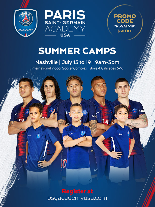Paris Saint-Germain Academy - The iconic French football club Paris Saint-Germain is hosting a summer camp in Nashville this year! Players will have the opportunity to be coached by official PSG Academy coaches while learning the training techniques of one of the best clubs in the world. For more information, click on the image!