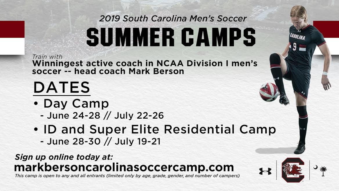 University of South Carolina - The University of South Carolina's Men's Soccer team is hosting several camps for boys this summer. Campers will have the opportunity to train under the winningest active coach in NCAA Division I men's soccer, Mark Berson, while learning individual skills and experiencing what it is like to be a student-athlete. For more information, click on the image!