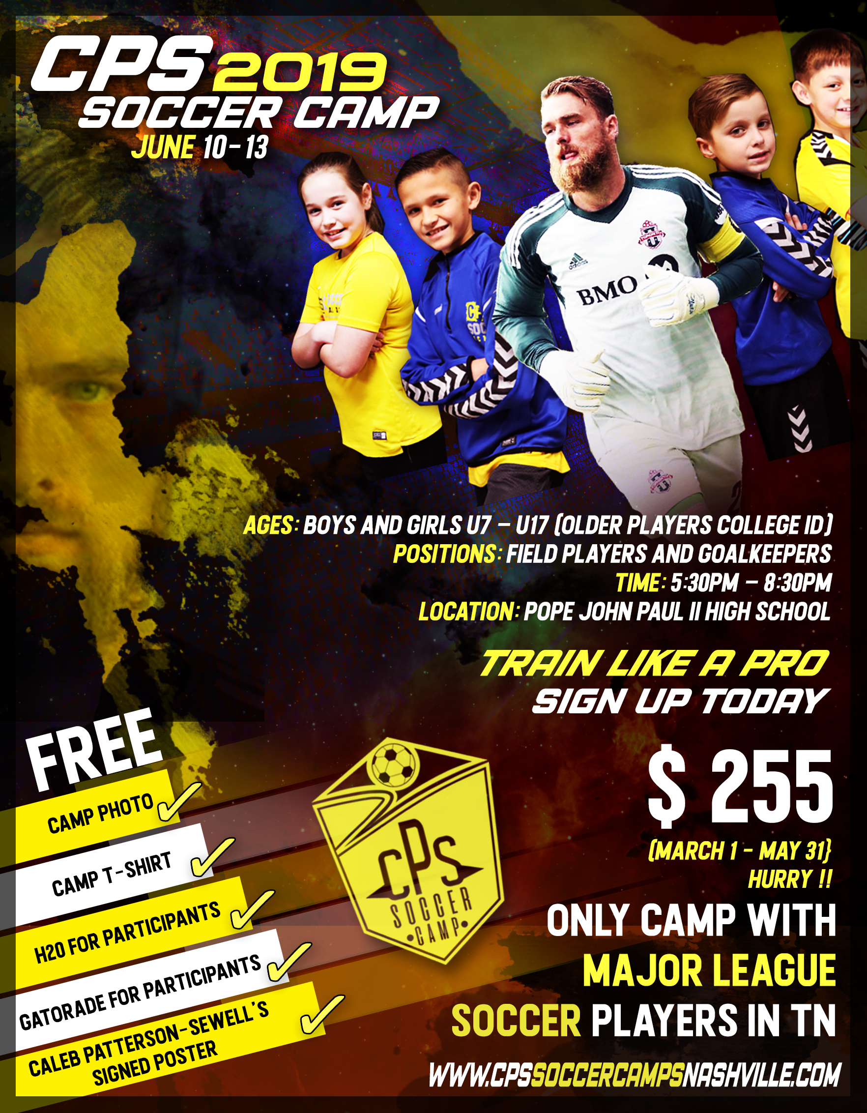 CPS Soccer Camp - CPS Soccer Camp 2019 is hosting their annual soccer camp featuring Major League Soccer players June 10-13. The staff will also feature coaches from Champions League teams in Europe. The camp will allow players to experience what it is like to be in a professional environment throughout the week. Click on the image for more information!