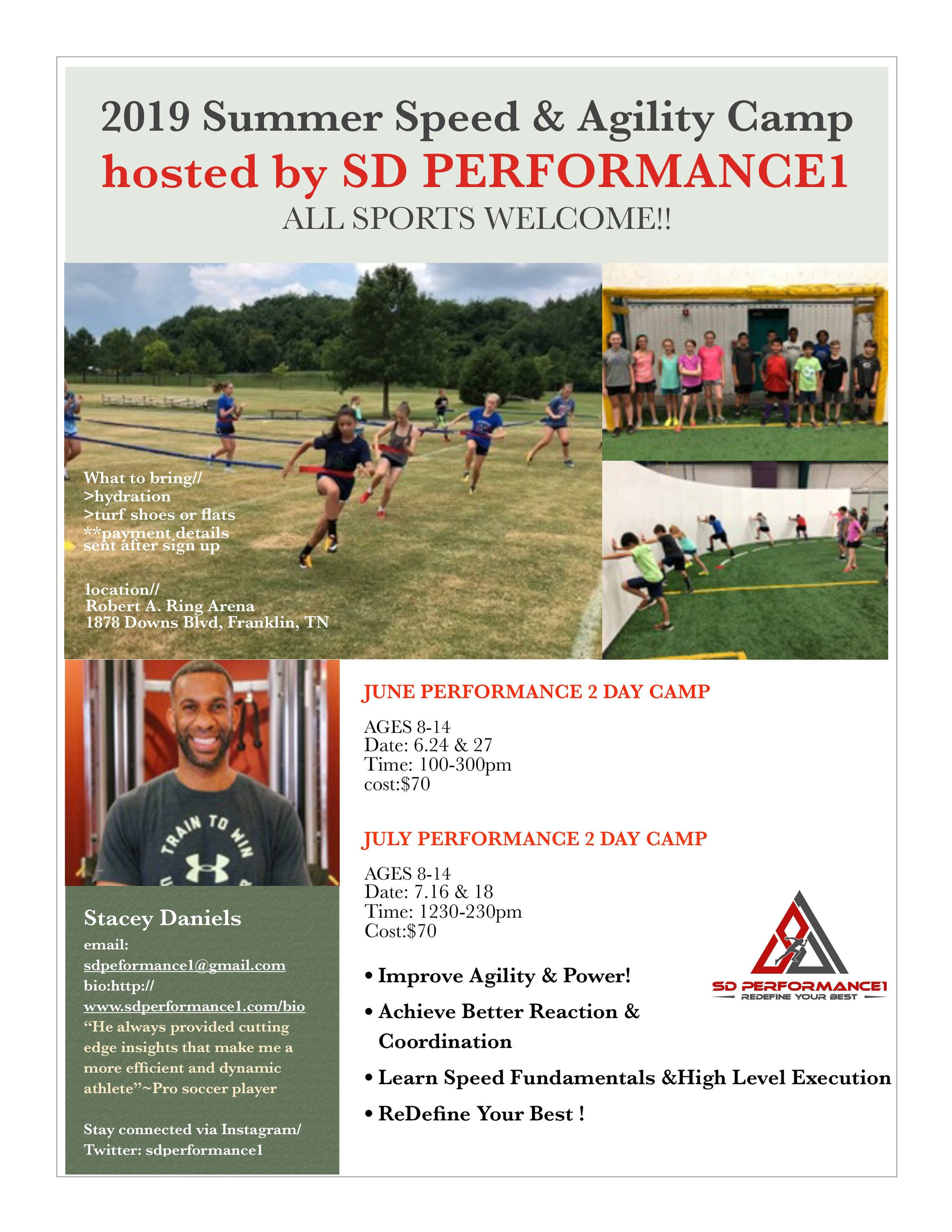 SD Performance1 - Stacey Daniels is hosting two speed camps this summer in the Nashville area! Camps are aimed at helping players to improve their agility and power while learning speed fundamentals. Click here to register for June camp and click here to register for July camp!