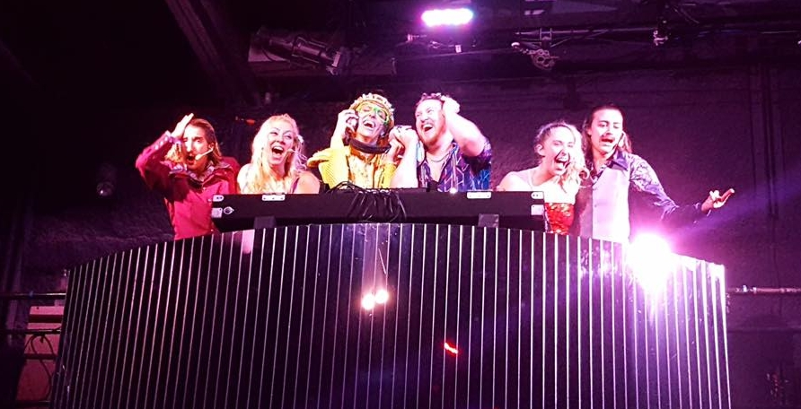 Jacob feeling the love in his DJ Booth as  DJ Karma deChromatone ! Joined here by Hannah Shihdanian, Jackie Theoharris, Mitchell Todd, Melissa Geerlof, and Holly Bourdon. photo courtesy of Jackie Theoharris.