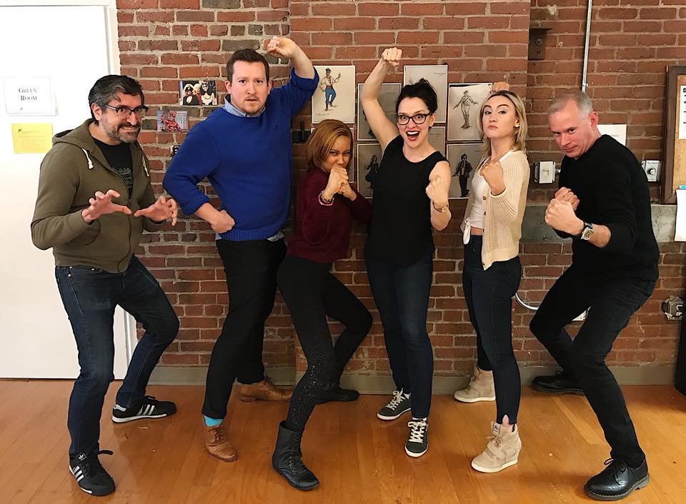 Today was the first read through for Merrimack Rep's new play, The Villains' Supper Club! The cast is obviously very excited! From L-R:  John , Jacob,  Lorene ,  Kristen ,  Maggie , and  Barlow .