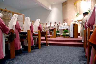 Pink Sisters - The Holy Spirit Adoration Sisters, also known as the Pink Sisters, are part of a cloister in Lincoln whose vocation includes a perpetual Adoration chapel. In order to facilitate a relationship between the Newman Center and the Pink Sisters, the Newman Center coordinates monthly visits to the sisters for Adoration and to help the sisters with projects as needed, such as raking leaves and scooping snow.
