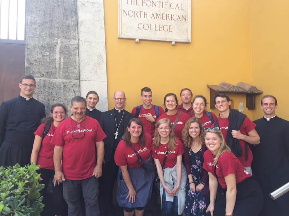 In front of the North American College with a few UNL alumni seminarians and deacons