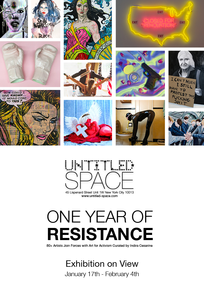 Olive Allen's artwork on the flyer for One Year of Resistance Show at the Untitled Space