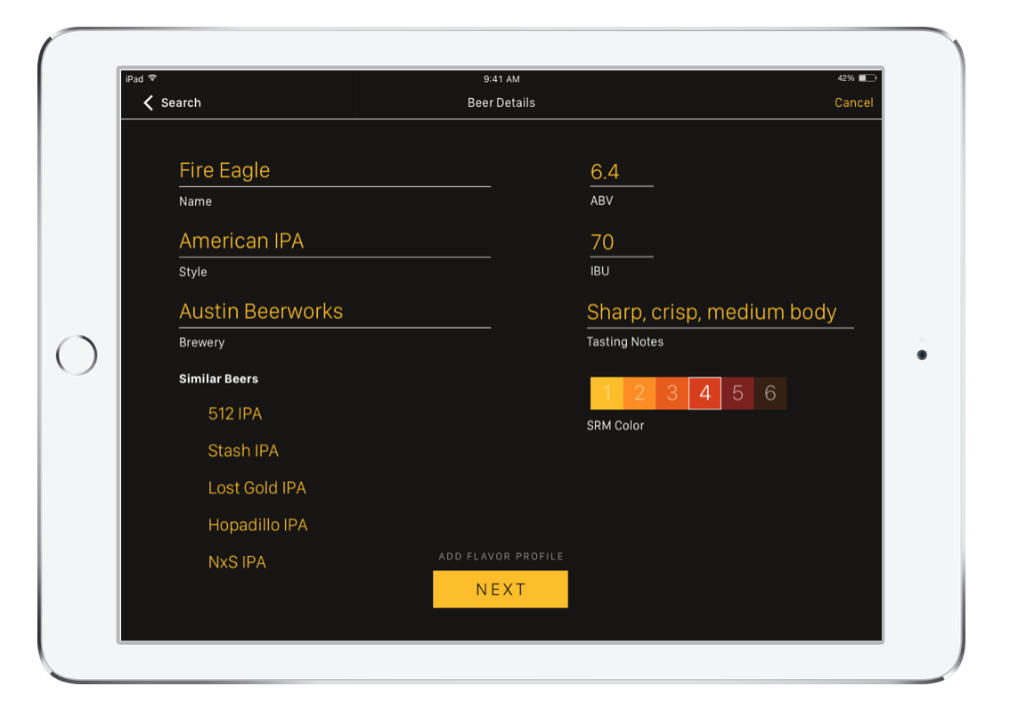 The final iPad app design for the bartender