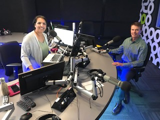 Simi Sara with David in the radio studio in Vancouver