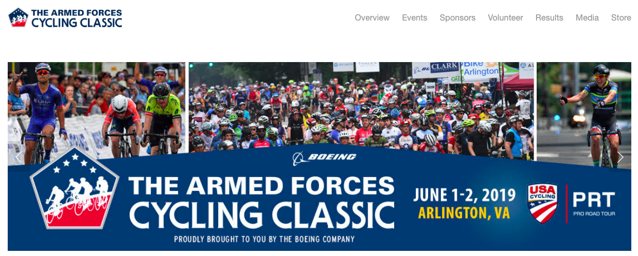 The Armed Forces Cycling Classic Challenge Ride, brought to you by The Boeing Company, is an amateur, non-competitive ride, open to cyclists of all abilities. The ride takes place this year on  Saturday, June 1st   (not Sunday)  on a course closed to traffic, starting and finishing in Crystal City, traveling past the Pentagon, up to Rosslyn and back.