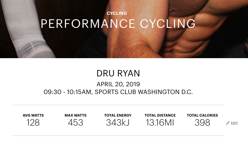 Equinox shares post class stats via their mobile app or the web.