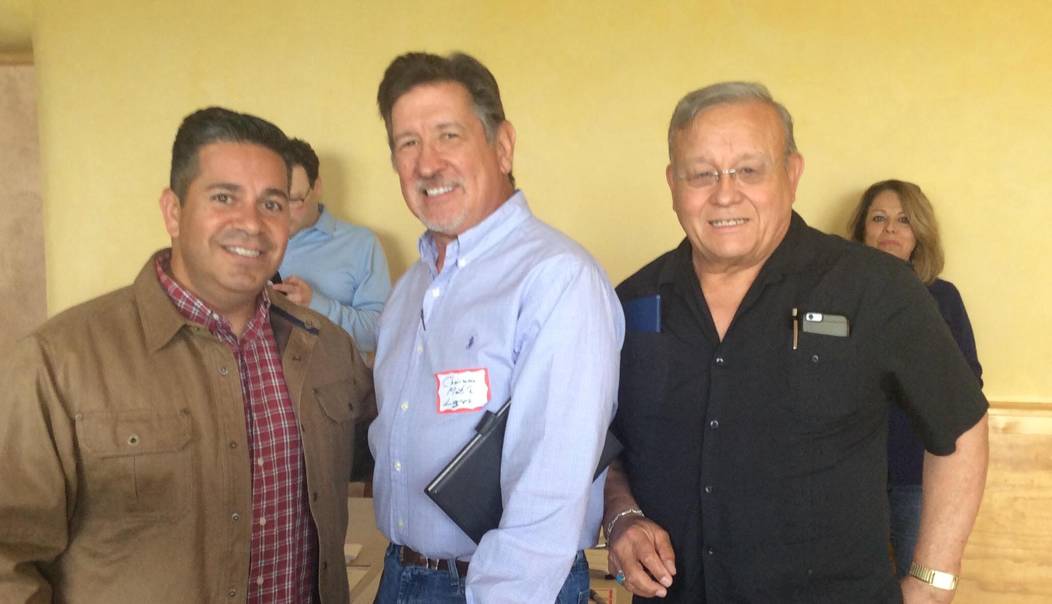Congressman Ben Ray Lujan, San Miguel County Democratic Party Chairman Martín Leger and State Representative Tomas Salazar