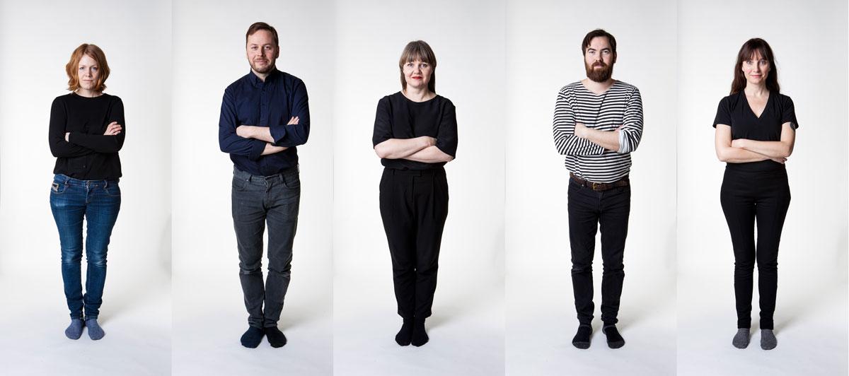 The designers of 1+1+1: Elina & Klaus Aalto, Róshildur Jónsdóttir & Snæbjörn Stefánsson and Petra Lilja.