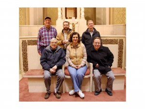 Here's a group of volunteers who helped to pick up the Nativity scene from St Girard's. First row: Bill Koch, docent and tour guide; Mary Holland, President and Founder; Rev. Fred Jensen, volunteer; Second row: Peter Weidner docent and volunteer; Brian Castner who helped with the start up of the organization; James Napora, Buffalo Historian Extraordinaire