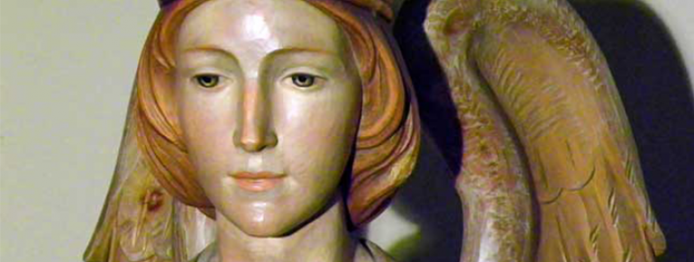 """Collection Details   Artist: Vinc. Giacomo Mussner, Italy (signed)   Year: 1930s-1940s   Material: Painted wood, gold leaf   Height: 69""""   Provenance: Saint Marry of Sorrows RC Church   Donor: Alvera Robinson in thanksgiving for the blessing of her family   Year Acquired: 2009"""