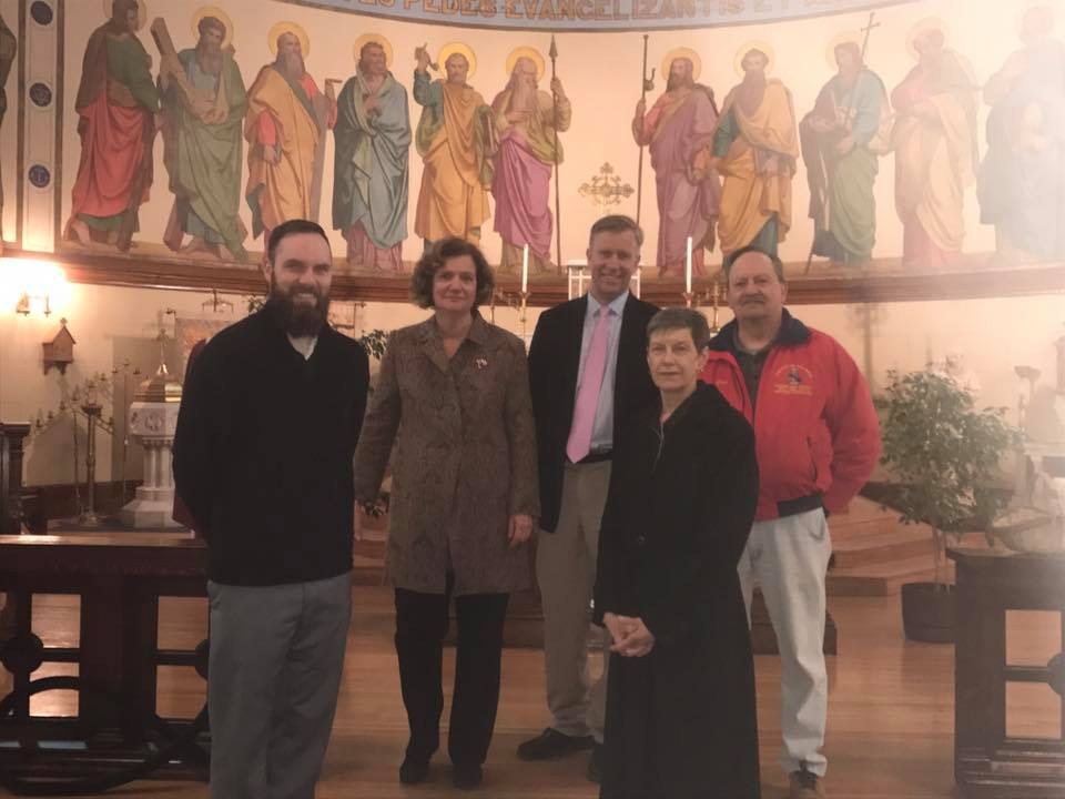 From left to right: Benjamin Spitler, Mary Holland, Senator Jacobs, Barbara Miziewa and Ronald Barrett.