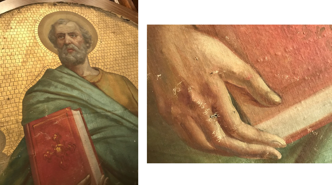 Detail of the St Peter Mural. His hand shows damage that needs repair, as well as cleaning and additional repairs.