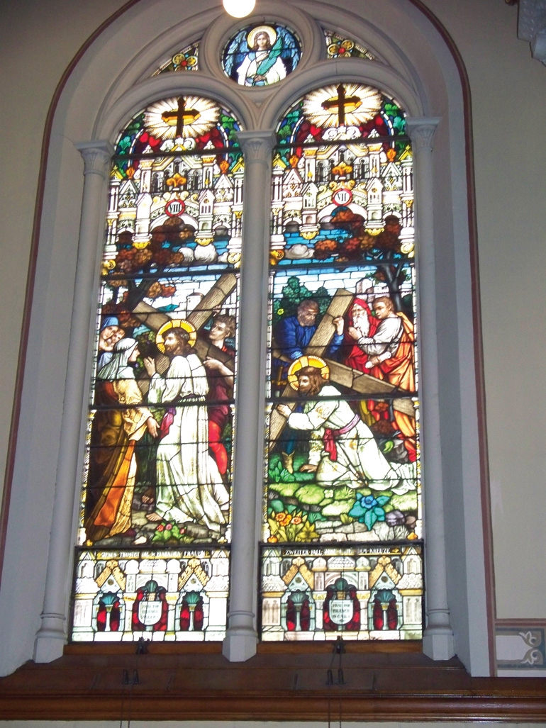 The stained glass Stations of the Cross.  CHRISTINE A. SMYCZYNSKI