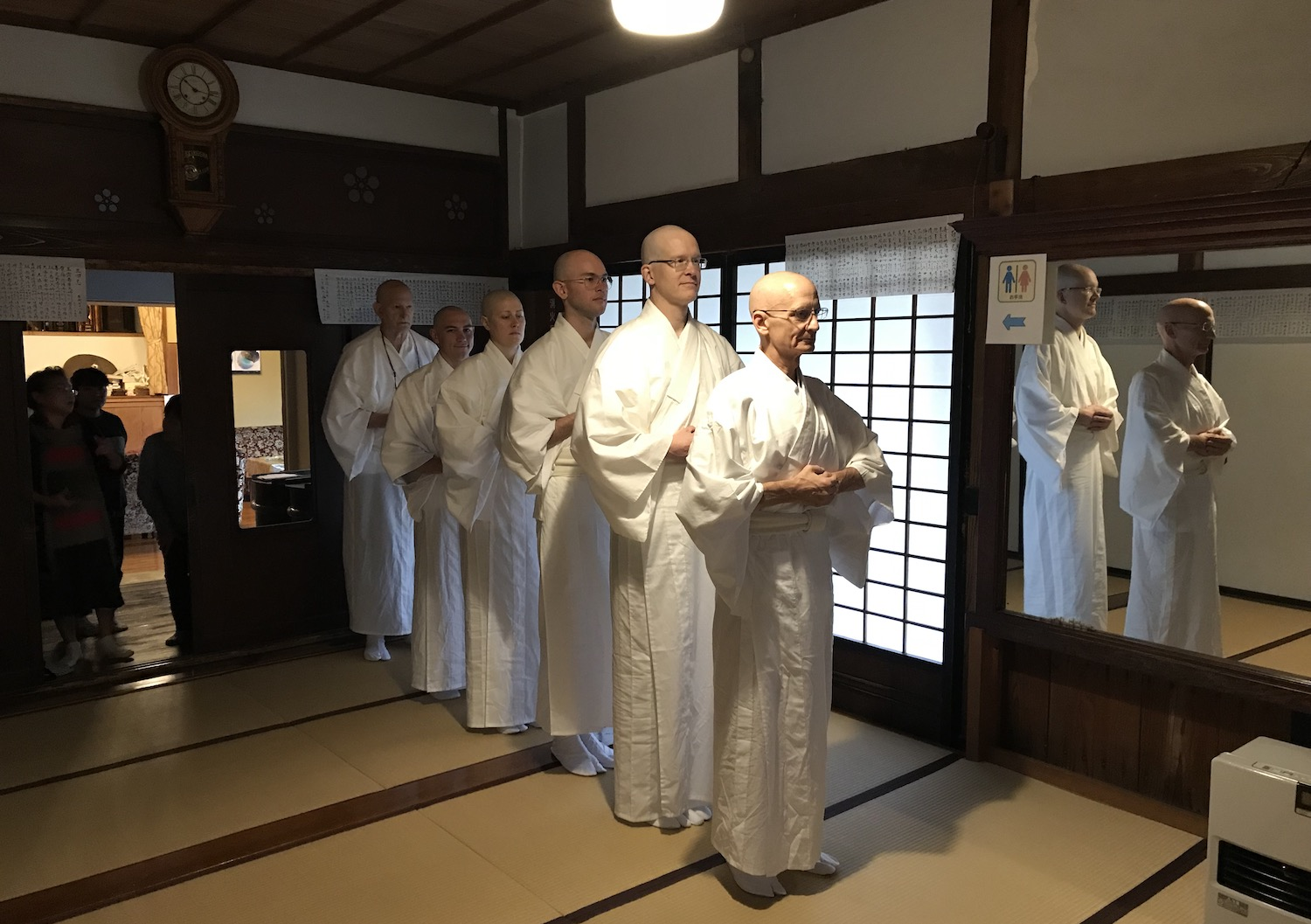 The procession at the start of the ceremony, wearing kimonos.