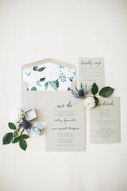 wedding invitations at wedding venue in galena
