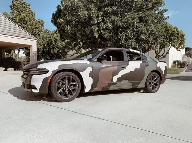 Camouflage level: expert #camowrap 🍃🍁 . . . #carwraps #vehiclewrap #vehiclewraps #graphics #3m1080 #colorchange #wrapped #paintisdead #marketing #laidnotsprayed #print #media #camo #decals #stickers #design #brandawareness #largeformat #blending #creative #art #smokeshow #losangeles #orangecounty #inlandempire #sandiego