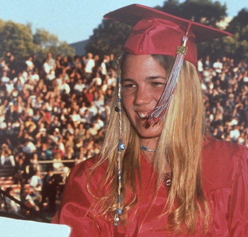 Kristin receiving her high school diploma from Lincoln High School, 1995.