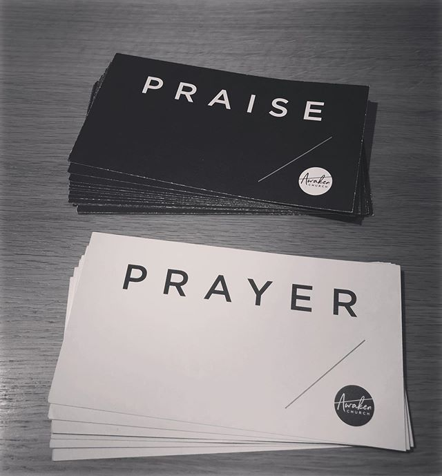 Each Sunday I walk out of @awakenchurchrr with a stack of cards like this. And each week I get a front row seat to what God is up to in peoples lives. I marvel as people in deep pain make the determined choice to praise God in all things. Today is a day to choose Joy!