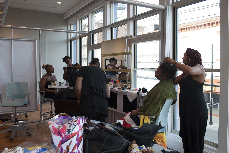 The Makeover Team: ReNee J. Mason, LaMonica Hambrick, Jasmine Mason, and Cassie Jamison get the Warrior Moms photo-ready!