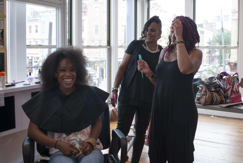 Warrior Mom Sharon and makeover stylists Cassie Jamison and Jasmine Mason.