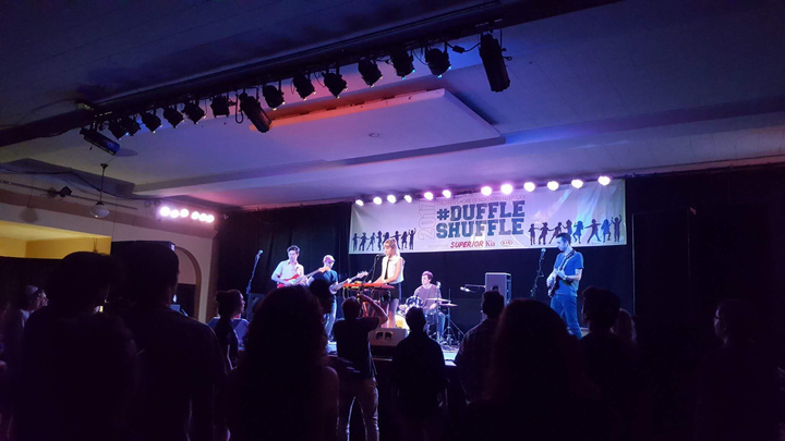 Varsity, an indie rock quintet from Chicago, performed in front of a #DuffleShuffle banner.  Photo: Ann Gilly.