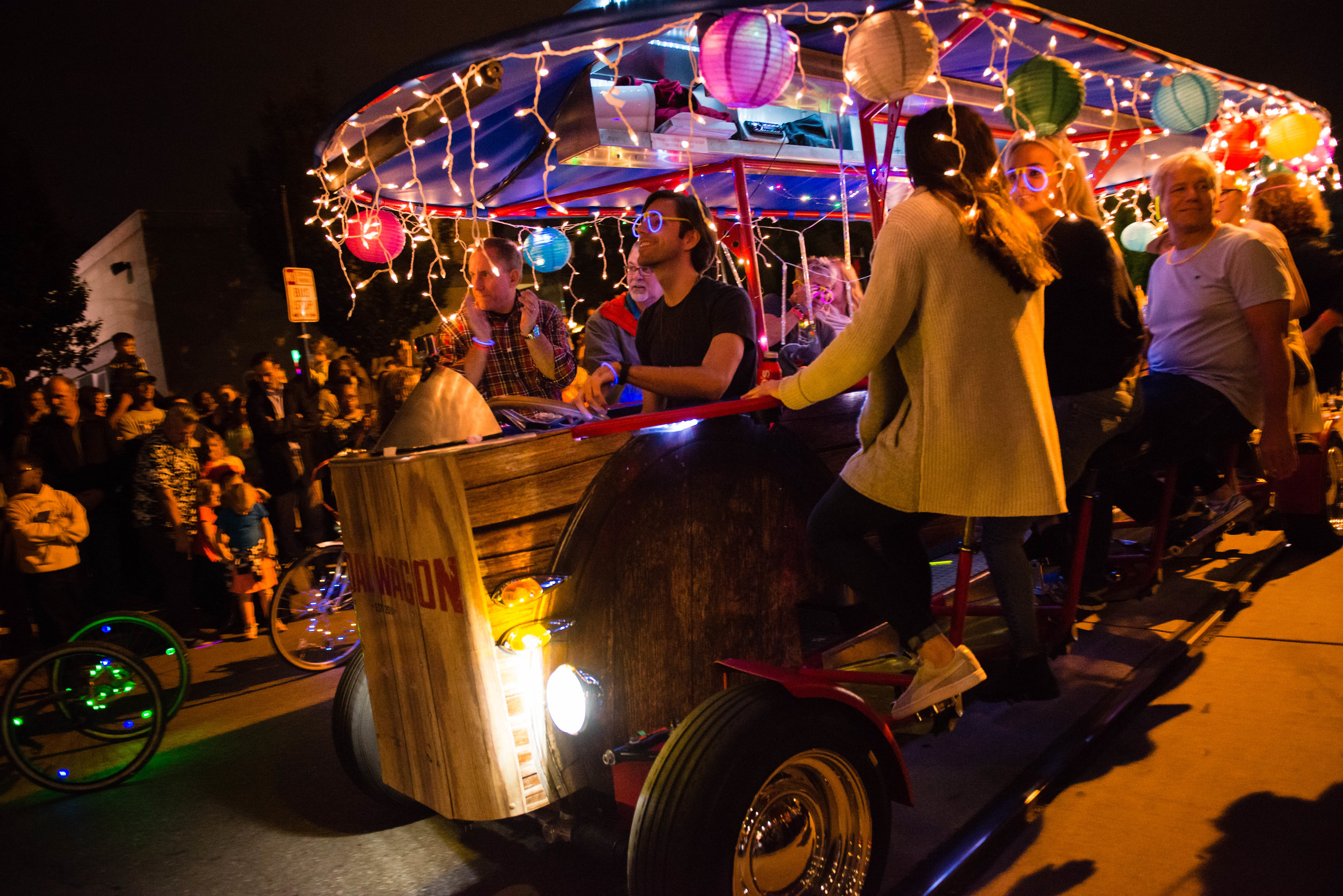 Photo by Stacy Wegley.  A paddle wagon chugging along during BLINK.
