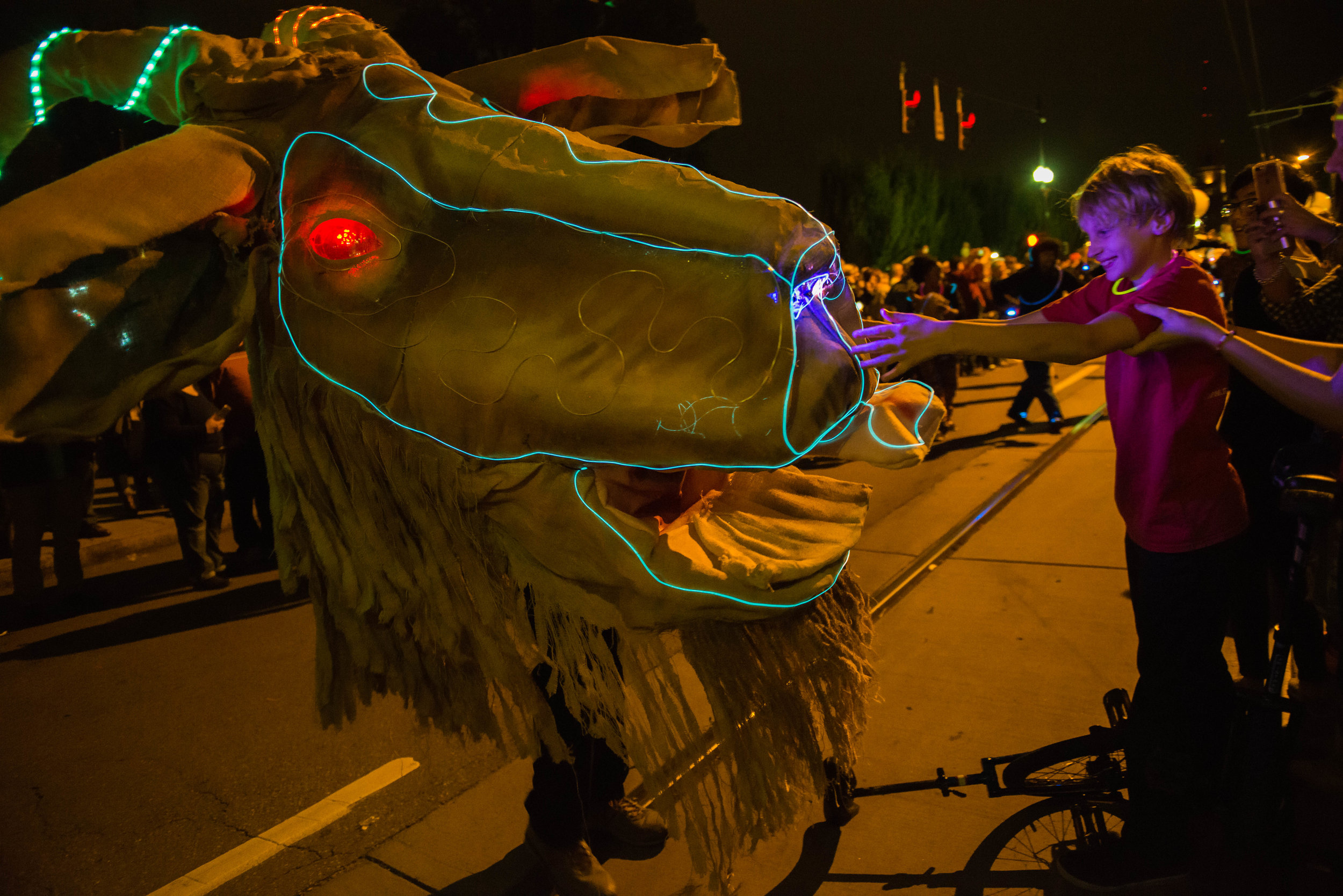 Photo by Stacy Wegley.  BLINK started off with a parade through Over-the-Rhine on Thursday night.