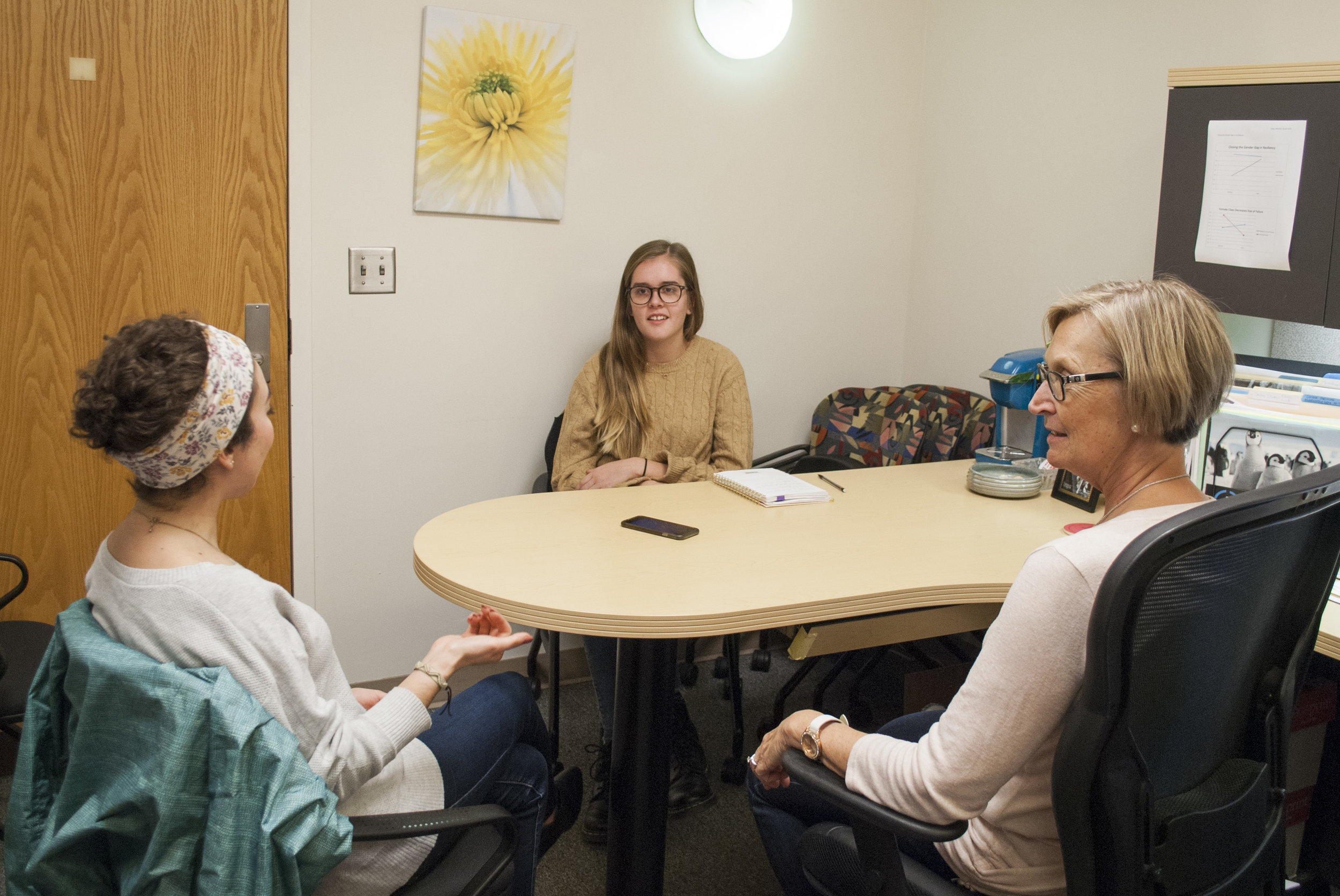 Conducting an interview for my ending project with UC Master's student, Hannah, and professor Dr. Sojka on the importance of mentorship among college women and the impacts it has.  December 2017 .