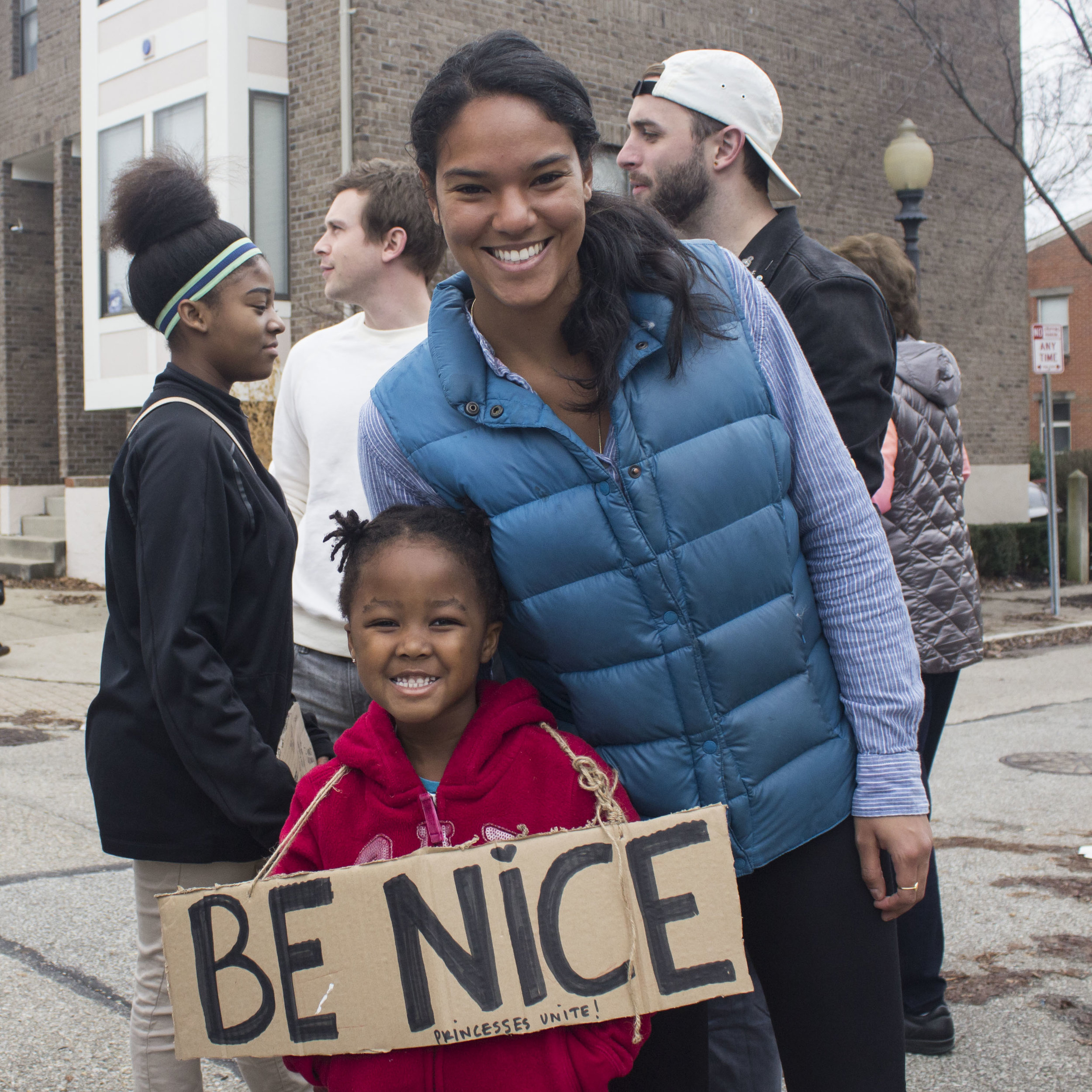 """""""I am marching because of this future superhero,"""" said Destinee Thomas, who marched with her five-year-old niece. """"Today she insisted on putting 'princess' on her poster, and I want her to think of 'princess' as something more powerful than just being pretty."""""""