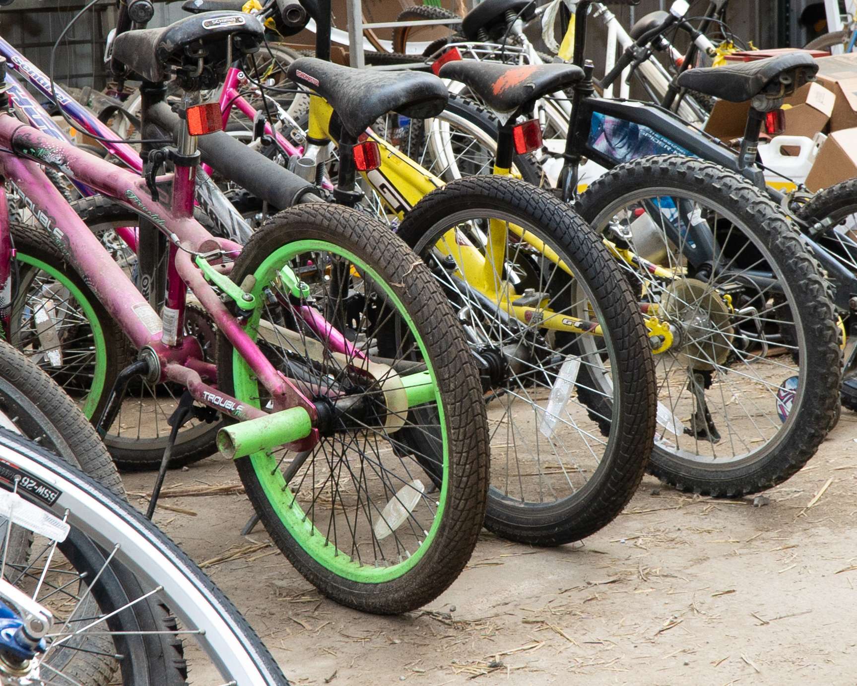 Donated bicycles at Bicycle Recycle