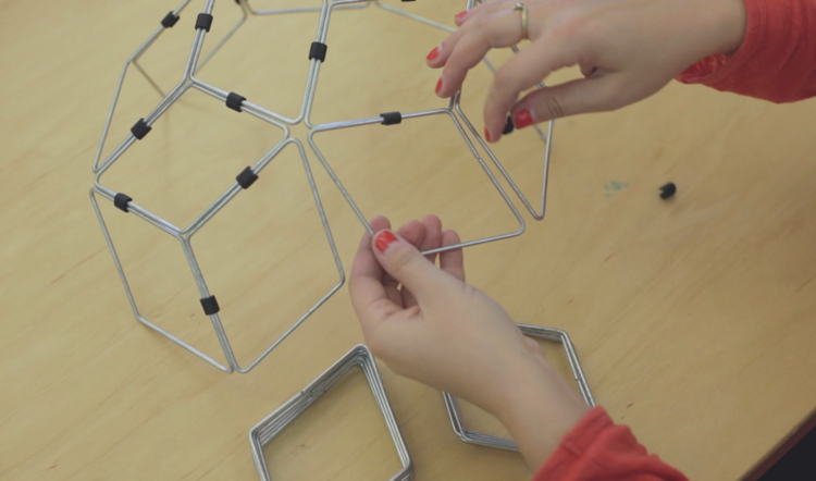 Clip together rhombuses to hold them in place while soldering.